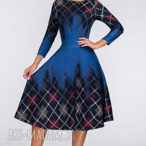 sukienki krata sukienka star 3/4 midi roxana