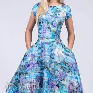 turkusowe sukienki kwiaty sukienka star midi markiza