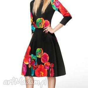 czarne sukienki kwiecista sukienka star 3/4 midi marika