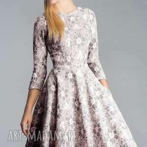 różowe sukienki koronka sukienka star 3/4 midi shanon