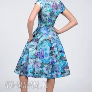 żakard sukienki fioletowe sukienka star midi markiza