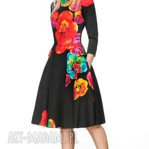 hand made sukienki oryginalna sukienka star 3/4 midi marika