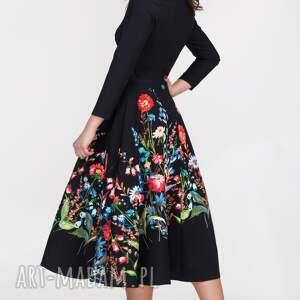 czarne sukienki sukienka na wesele star 3/4 total midi