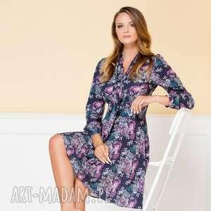 sukienki rozkloszowana sukienka stella granatowa w kwiaty
