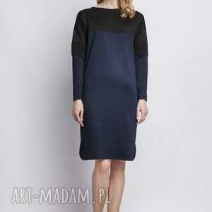 sukienki sukienka o prostym kroju, z czarnym karczkiem
