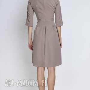 sukienki kieszenie sukienka, suk122 beżowy
