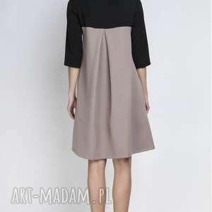 sukienki kieszenie sukienka, suk121 beż