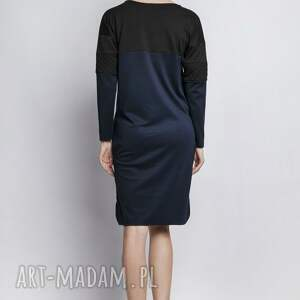 sukienki kontrast sukienka, suk107 granat