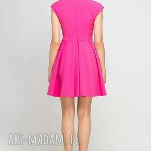 wyjątkowe sukienki midi sukienka, suk143 fuksja