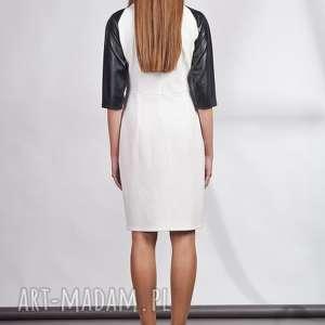sukienki rękawy sukienka z łączonych materiałów. idealnie