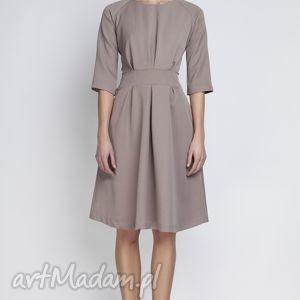 ręcznie robione sukienki rozkloszowana sukienka, suk122 beżowy