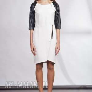 sukienki: Sukienka, suk106 ecru - zamek skóra
