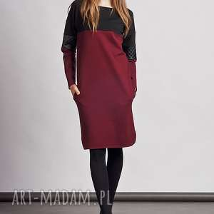 sukienki kontrast sukienka, suk107 bordo