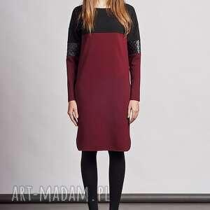 sukienki skóra sukienka, suk107 bordo