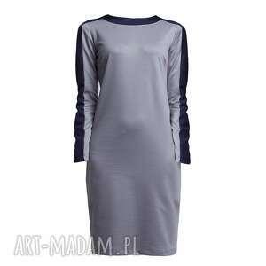 unikatowe sukienki kontrast sukienka, suk115 szary