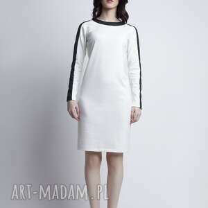 sukienki wstawki sukienka, suk115 ecru