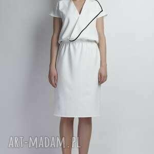 trendy sukienki asymetryczna sukienka, suk119 ecru