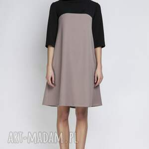 urokliwe sukienki półgolf sukienka, suk121 beż
