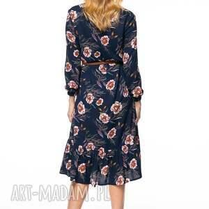 niebieskie sukienki wiskozowa sukienka midi o luźnym kroju uszyta