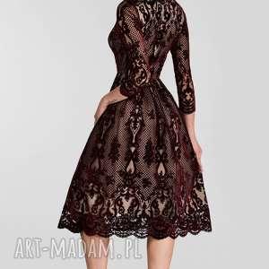 brązowe sukienki koronkowa sukienka tina 3/4 midi nikoletta