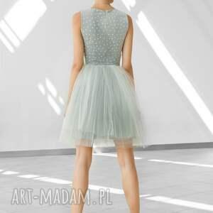 sukienki studniówka sukienka tiulowa w szarościach