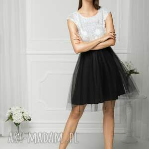 sukienki studniówka sukienka tiulowa biało/czarna fal