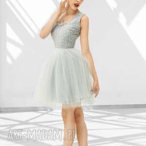 trendy sukienki wesele sukienka tiulowa w szarościach