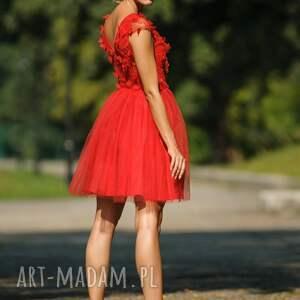 07770212ca unikatowe sukienki - sukienka tiulowa z koronką 3d cr