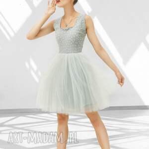 studniówka sukienki sukienka tiulowa w szarościach