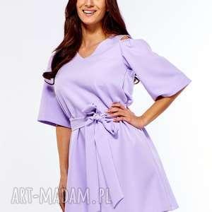 efektowne sukienka trapezowa juliet liliowa