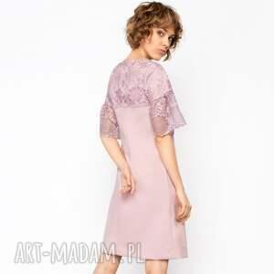 hand made sukienki trapezowa sukienka z koronką roz.