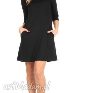 c11ac5ab4e sukienka trapezowa czarna krótka - Hand-Made sukienki