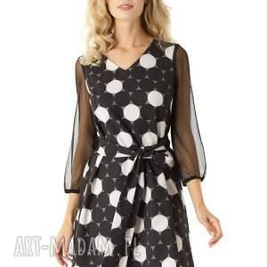 sukienki: Sukienka trapezowa z tiulowymi rękawami Keira w koła wizytowa