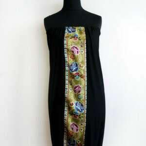 czarne sukienki tuba sukienka z motywami folk