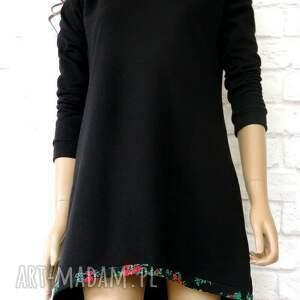 ręcznie zrobione sukienki sukienka tunika dresowa black folk