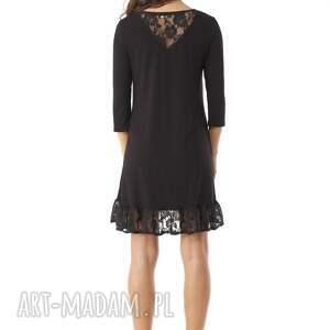 sukienka z-falbaną sukienki tunika oversize z koronką
