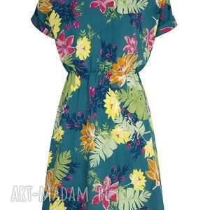 nietuzinkowe sukienki sukienka turkusowa w kwiaty