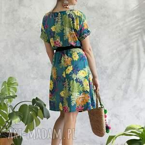 sukienka sukienki zielone turkusowa w kwiaty