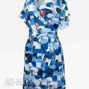 eleganckie sukienki midi sukienka w kwiaty z falbanką