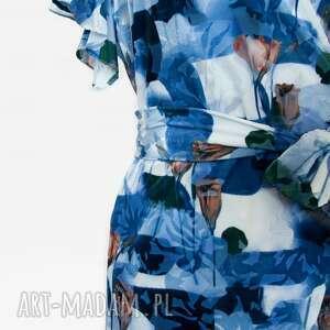 kolorowa sukienki sukienka w kwiaty z falbanką