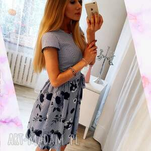 handmade sukienki haftowana-sukienka sukienka w paski haftowane kwiaty