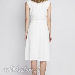 sukienki kopertowa sukienka w stylu retro, suk125 ecru