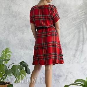 czerwone sukienki sukienka w szkocką kratkę