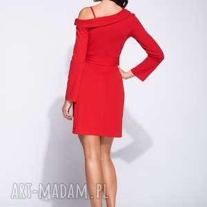 wieczorowa sukienki czerwone sukienka mini na jednym