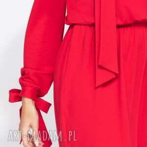 trendy sukienki midi sukienka z bawełny z długim rękawem