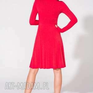 sukienki dzianina sukienka z dekoltem, t146, czerwona