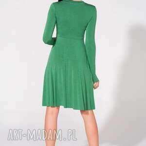 unikatowe sukienki dzianina sukienka z dekoltem, t146, zielona
