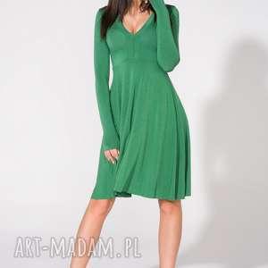 sukienki dzianina sukienka z dekoltem, t146, zielona