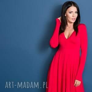 sukienki sukienka z dekoltem, t146, czerwona