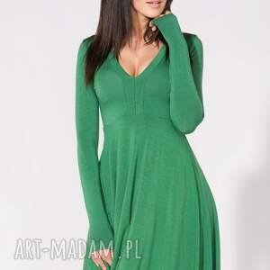dzianina sukienki sukienka z dekoltem, t146, zielona